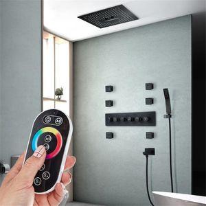Chuveiro LED 400 milímetros Set Rainfall Showerhead 304 SUS levou teto luz negra torneiras chuveiro do banheiro termostática Massagem Sistemas de Duche