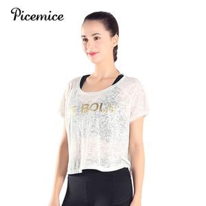 Tişört Gevşek Bluz Kes Koşu Yoga Gömlek Sporla Kadınlar See Picemice Yeni Nefes Kız Spor Tops