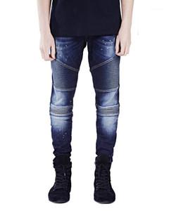 Tasarımcı Biker Jeans Moda Kişilik Hayta Fermuar Kasetli Mens Biker Jeans Casual Erkek Giyim Çizgili Mens yazdır