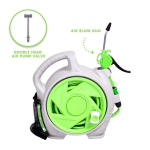 Retractable Enclosed Plastic Air Hose Reel 50FT Air Hose Reel Portable Air Hose Reel Two Substitution Heads Hybrid(Green)'