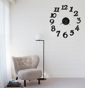 Wholesale- free shipping new Free Shipping DIY Clock Self Adhesive Decal Modern Wall Digit Number Room Interior Decoration Clock