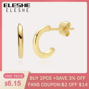 ELESHE Fashion New 925 Sterling Silver Simple Huggies Earrings with 18K Gold Plated Hoop Earrings for Women Authentic Jewelry