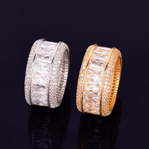 Size 7-12 Ice Out Hip Hop CZ Baguette Rings Jewellery Gold Sliver Micro Paved Ring for Man Women Gift