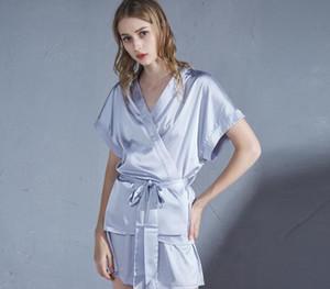 Sexy Summer Ice Silk Satin Sleepwear Pajamas Set Robe for Women Sleep Top Bottoms Shorts Nightwear Clothing Home Wear77
