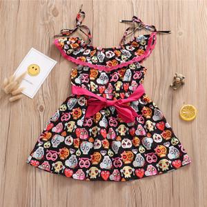 2020 nueva ropa del bebé de las muchachas cráneo del partido del vestido vestido de la honda del hombro + elástico de la cintura del arco de calabaza muchachas de la falda vestido al por mayor de Europa y América