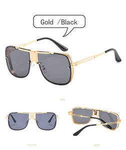 Fashionable Accessories Eyeglasses Men's Metal Double Beam Sunglasses Eyewear Windproof Gold Frame Silver Frame Sunglasses 5 Colors Availabl