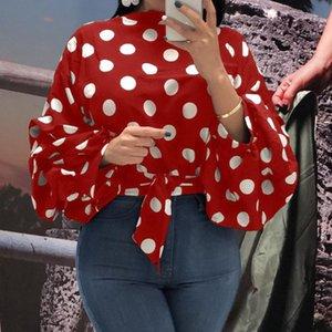 Summer Office Lady douce Plus Size Élégante Blouses femmes 2020 Lanterne en vrac Casual manches pois automne Femme Haut-shirt