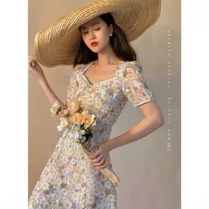 Onepire Atelier | Monet Garden seta vestito | abito pausa tè di seta stampata Flash Monet Garden solubile in acqua