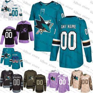 2.019 prática câncer de lutas personalizado San Jose Sharks das mulheres dos homens jovens Teal Verde Black camo gelo personalizado Hockey Jerseys costurado S-3XL