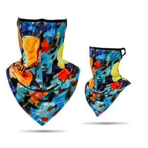 New 40 Styles Printing Riding Motorcycle Face Towel Bandana Dust Face Mask hanging Ear Triangle Scarf Magic Headband Party Mask AAB1916