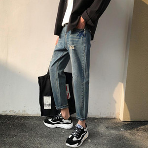 2020 Summer Men's New Products Stretch Slim Fit Classic Skinny Jeans Hole Fashion Trend Trousers Blue Color Casual Pants S-2XL