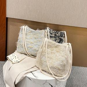 New Arrival 3 Colors Autumn Winter Woolen Bucket Bag Fashion New Street Trend Shoulder Bag Female Handbag