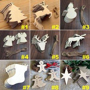 Großhandels10pcs / lot Weihnachtsbaumschmuck Weihnachten Home Garten Ornament Holz Clip Snowman Elk Socken Hängeschmuck Geschenke