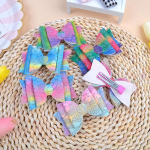 Clipe meninas bebê Glitter Hairpin curvas Cabelo Gradiente Cabelo do arco-íris cor Pinos Childrens Sequins Barrette Partido Cabelo Acessórios Headress D9307
