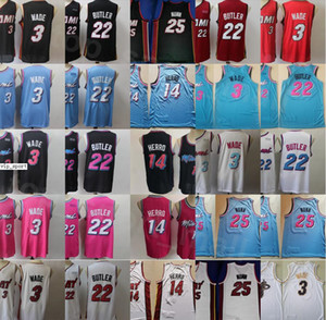Cheap Basketball Dwyane Wade maglie 3 Tyler Herro 14 Jimmy colori Butler 22 Kendrick Nunn 25 Nero Bianco Rosso Rosa Squadra cucita Men