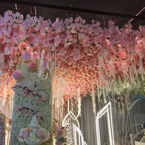 1 Pcs DIY Artificial Japanese Cherry Blossoms Flowers Decorative Wedding Flowers for Party Home Sakura Wall Bonsai