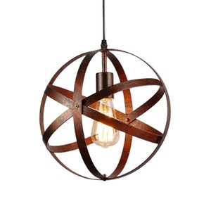 Luz pendiente de la vendimia esférico Industrial Globo del metal de la lámpara de techo de la jaula retro rústico ligero Colgando artefacto de iluminación de la sala de estar