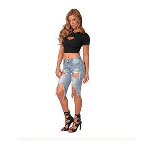 الصيف طول الركبة المتعثرة سراويل جينز للنساء الأضرار الحفرة الكبيرة ممزق جينز مطاطا دمرت سروال اللباس القصير الدينيم