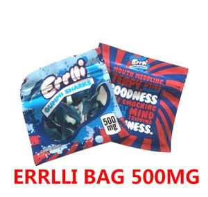 Lo nuevo Hot 500 mg Errlli Gummi tiburones comestible embalaje a prueba de olor Bolsas ojivas Bolos Edibles Vacía caramelo Bolsas Mylar DHL