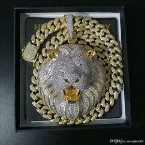 Mens gioielli Hip Hop fuori ghiacciato Pendente di lusso della collana della catena del diamante di Bling Cuban link Big Pendenti Leone Animal Rapper Accessori