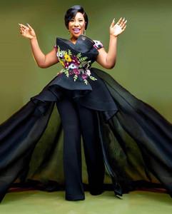 2020 Арабский Асо Ebi Black Satin Sexy кружева Вечерние платья Спагетти Бисероплетение Пром платья атласная Элегантный женщин партии Комбинезоны