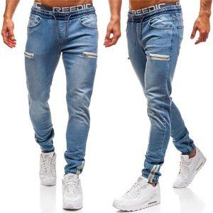 Fashion Slim Crayon Pantalon avec Zipper Casual Couleur Naturel taille élastique Jeans Hommes Active Style Jeans
