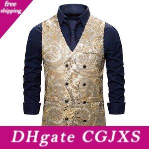 Мода Slim Fit Double Breasted Vest Men 2019 Shiny Блестки Dj Club платье жилет Жилет Мужчины Этап Gilet костюм Homme Xxl