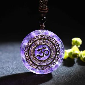 Orgonite kolye OM sembol kolye Chakra Healing Enerji Kolye Meditasyon Doğal kristal Reiki Guardian Orgone kolye