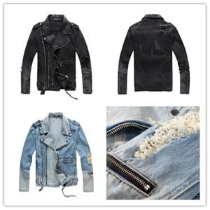 BalmainNuovo modo dei jeans di marca Mens nero jeans skinny Ripped Distrutto Stretch Slim Fit Hop Hop pantaloni con fori per gli uomini