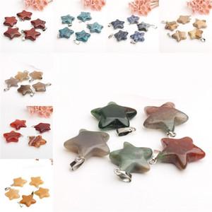 Kristalleri Şifa Kolye Beş Yıldızlı kolye Moda Doğal Akik Taş Diy kolye Turizm Hediye Aksesuarlar 1 25jd B2 Sivri