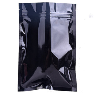 9*13cm (3.54*5.11inch) black mylar dry food storage package bag aluminum foil ziplcok pouches bags gift and craft packaging bags