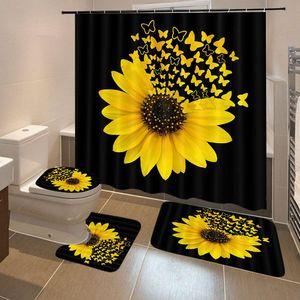 Sunflower Schmetterlings-Druck-Duschvorhang wasserdichten Badezimmer-Vorhang Toiletten-Abdeckung Mat Griffige Teppich Set Badewanne Dekor