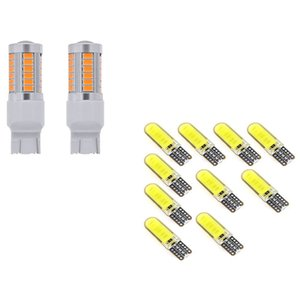 10Pcs T10 W5W COB LED Car Auto Interior Bulb & 2x 7443, T20 LED Bulbs Amber Yellow 900 Lumens Turn Signals Light