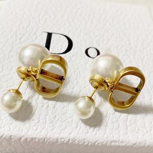 Charme Brincos Moda ouro do sexo feminino jóias de Classical Carta CD Pérola Mulheres Acessórios frete grátis