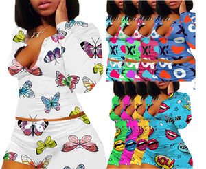 Frauen Anzug Zwei Stücke Set dünne reizvolle Muster Letters Lippen Printed V-Ausschnitt Langarm-kurze Hosen-Damen neue Art und Weise Sportwear-Outfits