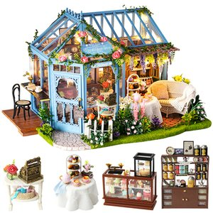 CUTEBEE DIY Dollhouse Wooden doll Houses Miniature Doll House Furniture Kit Casa Music Led Toys for Children Birthday Gift A68A Y200317