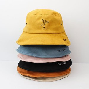 Cloches 2021 Warm Thicken Cotton Embroidery Bucket Hat Fisherman Outdoor Travel Sun Cap Hats For Men And Women 508