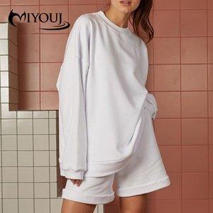 Set pedaço MIYOUJ Preto Moletons Two Casual Outono Inverno Shorts Loose Women DO aptidão 2020 Roupa camisola das mulheres