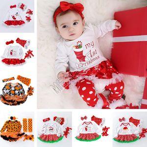 Дизайнер Рождество Baby Rompers с длинным рукавом платье + повязка + Kneepad + Обувь из четырех чехлов костюм Halloween Дети Горшки снега тыквы Комбинезоны D82504
