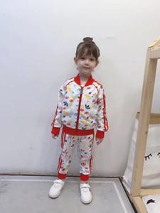 Designer Style enfants fleur veste fermeture éclair imprimé outwear + ensembles 2pcs pantalons occasionnels garçons enfants filles jeux de sport A3969