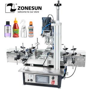 ZONESUN Ropp bomba pneumática Vial desktop Screw automática Capping Máquina de vidro Parafuso garrafa de perfume plástico PET