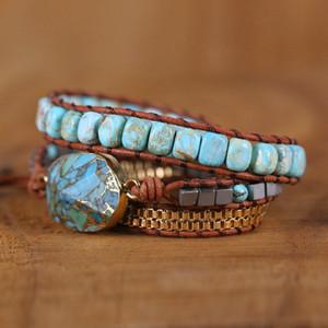 Unique Women Wrap Bracelets Natural Stones 5x Leather Cuff Bracelet Femme Bracelet Vintage Weaving Statement Art Chain Bracelet