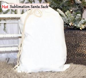Sublimazione di Santa Bag grandi sacchi di Santa in bianco del regalo dei bambini di Natale personalizzata coulisse di Santa Sack casa Festival Forniture DHB2040
