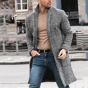Mäntel Manteaux Gießen Hommes Herren Designer-Winter-lange Wollmäntel Plaid-Muster-Mode-Männer warmen Strickjacke