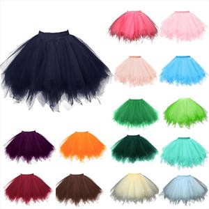 Petticoat Tutu Tulle Skirt Vintage Midi Pleated Skirts Womens Lolita Bridesmaid Wedding Faldas Mujer Saias Jupe Skirts 1127S25