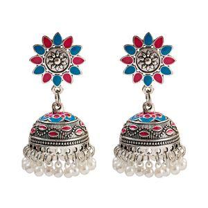 Forma Bohemian estilo Vintage Water Drop brincos de pingente de prata da cor Alloy Bird Cage Pingente Flor Beads brincos de borla