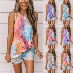 Top Women Fashion Casual Tie Dye Tank Stampa di base camicia della parte superiore Estate Carino Plus Size Long Tipo allentato Cami Vest