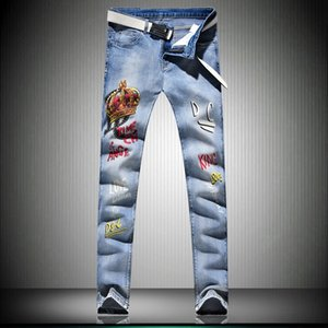 A2KkV primavera tramo nuevo los pantalones vaqueros de los hombres de la letra de impresión personalizado de moda blanca jeans rectos Corona y pantalones de tienda online
