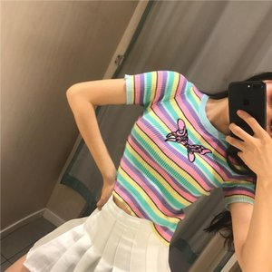 Butterfly Vintage Striped Tight Cropped Knitted Sweater Women Rainbow Color Crop Top Pullover Sueter Mujer Pulover Feminino