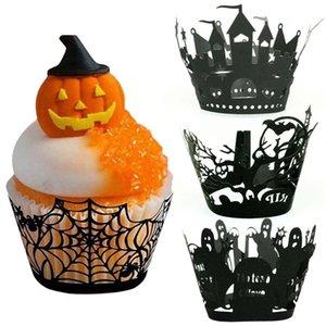 Хэллоуин бумаги завертчица Cupcake Toppers Детские сувениры украшения партии торт Топпер Хэллоуин торт Around